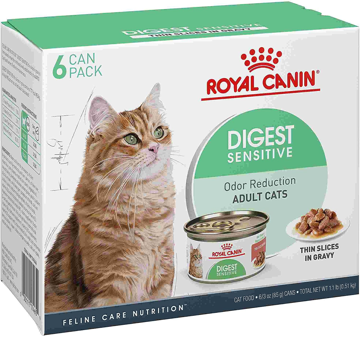 Royal Canin Feline Health Nutrition Digest Sensitive Thin Slices in Gravy Wet Cat Food, 3 oz, Multipack of 6
