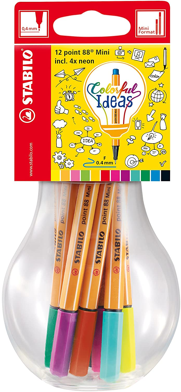 Fineliner - STABILO point 88 Mini - Colorful Ideas - 12er Pack - mit ...