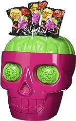 Chupa Chups Présentoir en Forme de Tête de Mort Contenant 150 Sucettes 3D Skull Parfum Bi-Goût Fraise-Citron Vert 2.250kg
