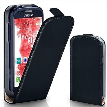 MoEx® Funda abatible + Cierre magnético Compatible con Samsung Galaxy S3 Mini | Piel sintética, Noir: Amazon.es: Electrónica
