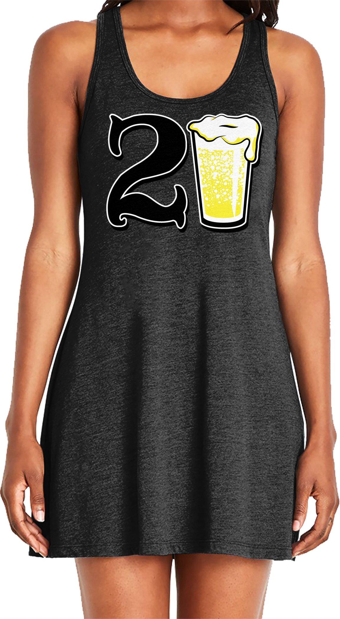 Amdesco Ladies 21 Years Old, 21st Birthday Casual Racerback Tank Dress, Black Small