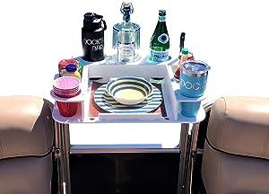 Docktail Butler Pontoon Boat Marine Food & Cocktail Table - Includes 1 1/4