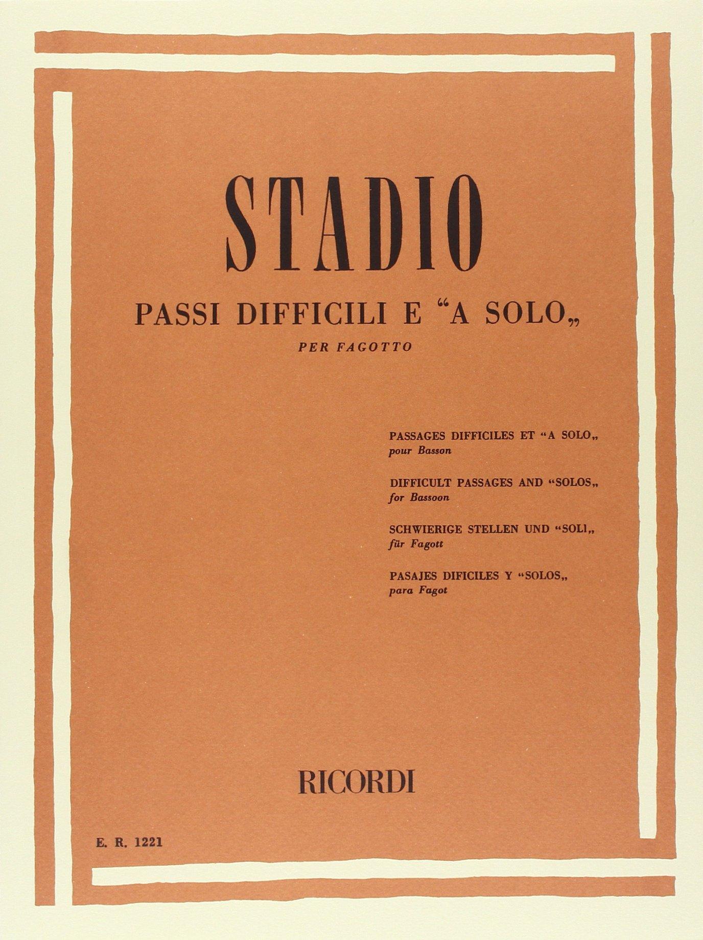 Passi Difficili E A Solo Broché – 1 janvier 1984 C. Stadio Ricordi 0041812212 Musique