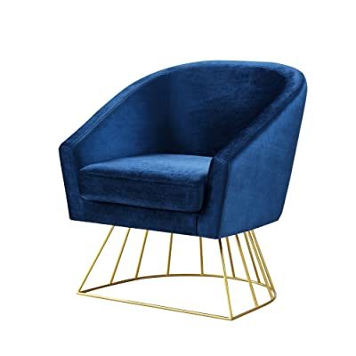 Adalene Navy Velvet Accent Chair   Gold Metal Base | Barrel Shaped Back |  Upholstered |