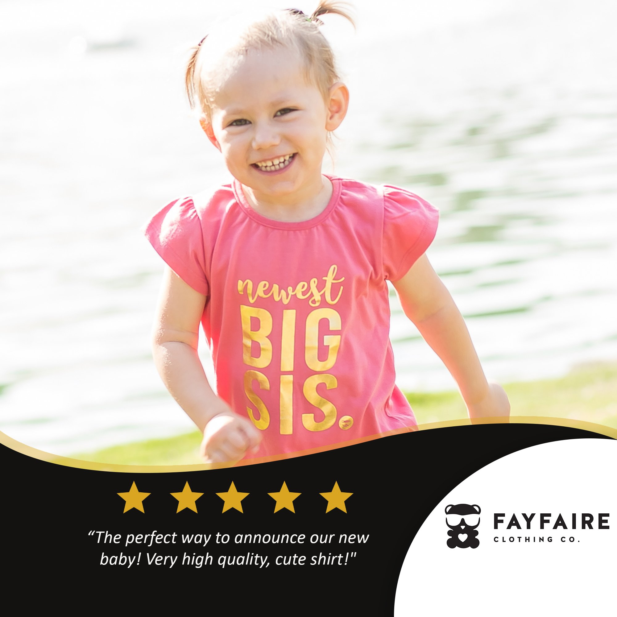 Fayfaire Big Sister Shirt Outfit : Boutique Quality Pregnancy Announcement Newest Big Sis 3T by Fayfaire (Image #2)