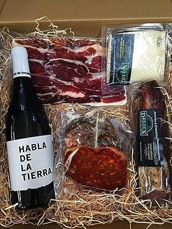 Estuche gourmet con un variado lote de productos Ibéricos de calidad y una botella de vino Habla de la Tierra para regalar