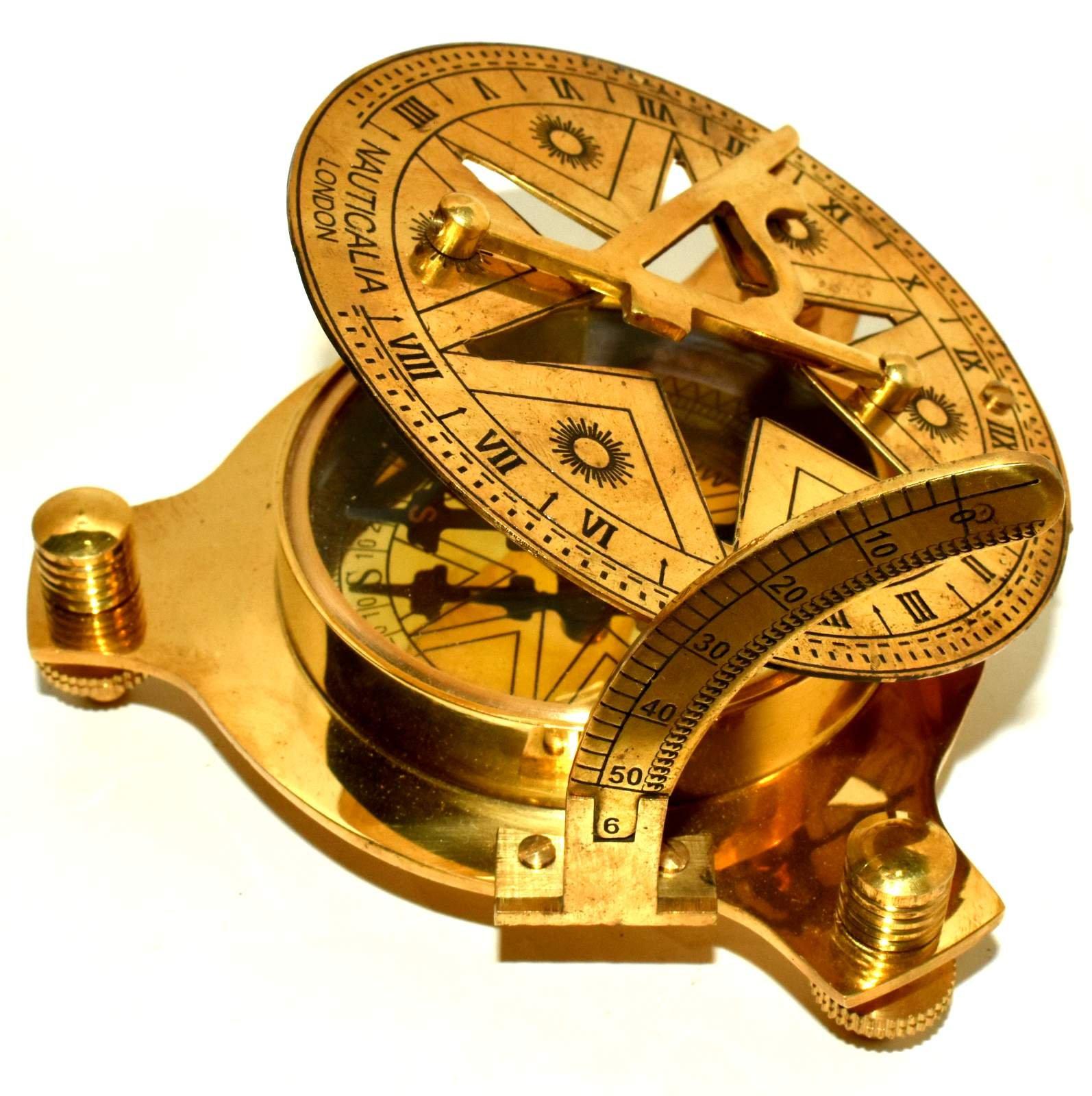 Vintage London Brass Sundial Compass Marine Ship Astrolabe Compass Decor 4''
