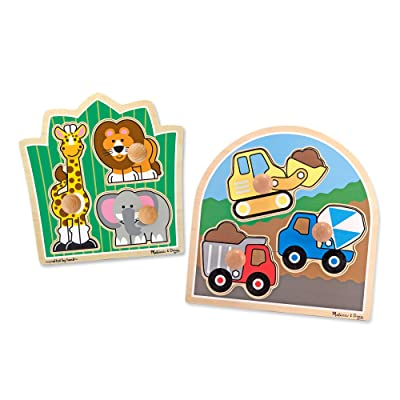 Melissa & Doug Jumbo Knob Wooden Puzzles Set - Construction and Safari: Toys & Games