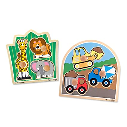 Melissa & Doug Jumbo Knob Wooden Puzzles Set - Construction and Safari