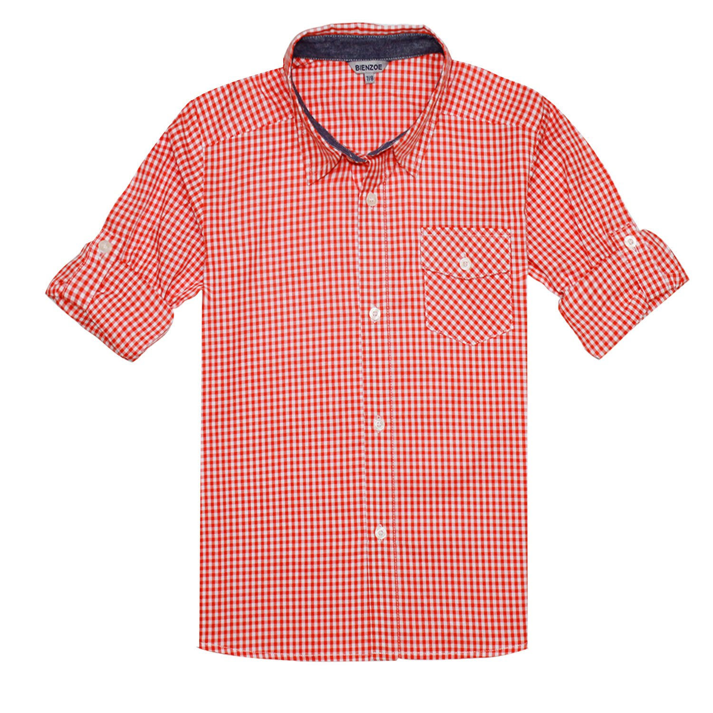 Bienzoe Boy 's Cotton Plaid Roll up Sleeve Button Down Sports Shirts Orange/White Size 7/8
