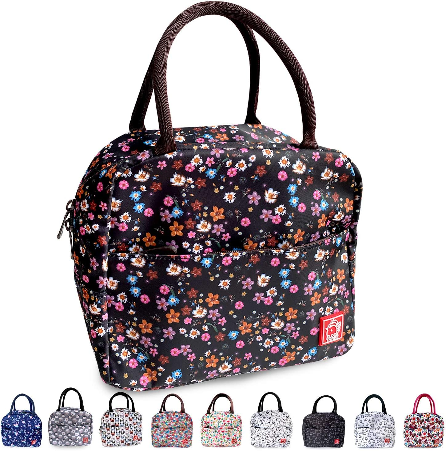 FLOCK THREE Waterproof Insulated Reusable Lunch Bag Food Drinks Container with Front Padded Pocket Double Zippers For Kids Women Work School Picnic Floral Design