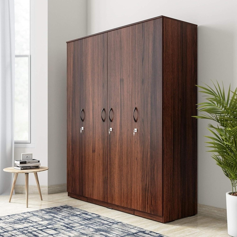 Amazon Brand - Solimo Apha Engineered Wood 4-Door Wardrobe