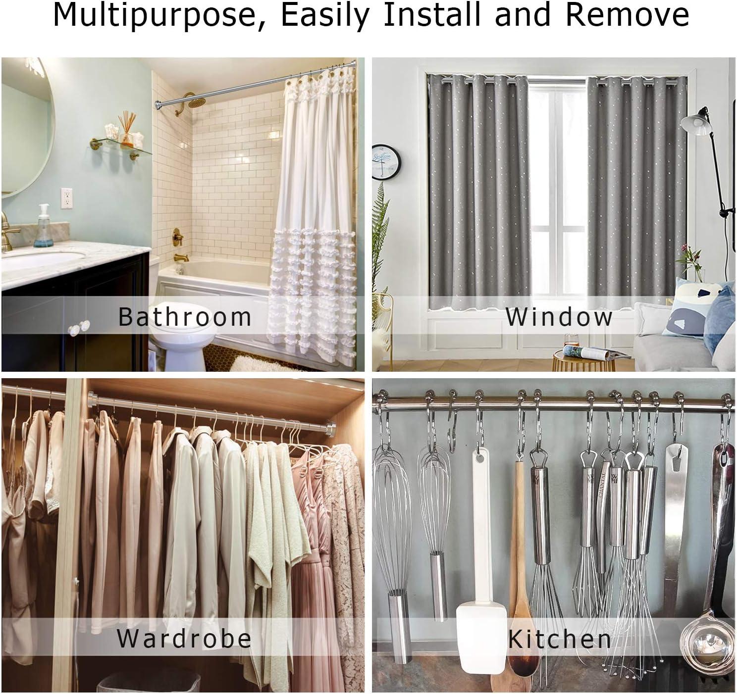 61-114 ALLRIER Tension Shower Curtain Rod Chrome No Drilling Stainless Steel Shower Rod Never Rust Non-Slip Adjustable Closet Rod Tension Rod for Bathroom Kitchen Wardrobe Doorway Windows