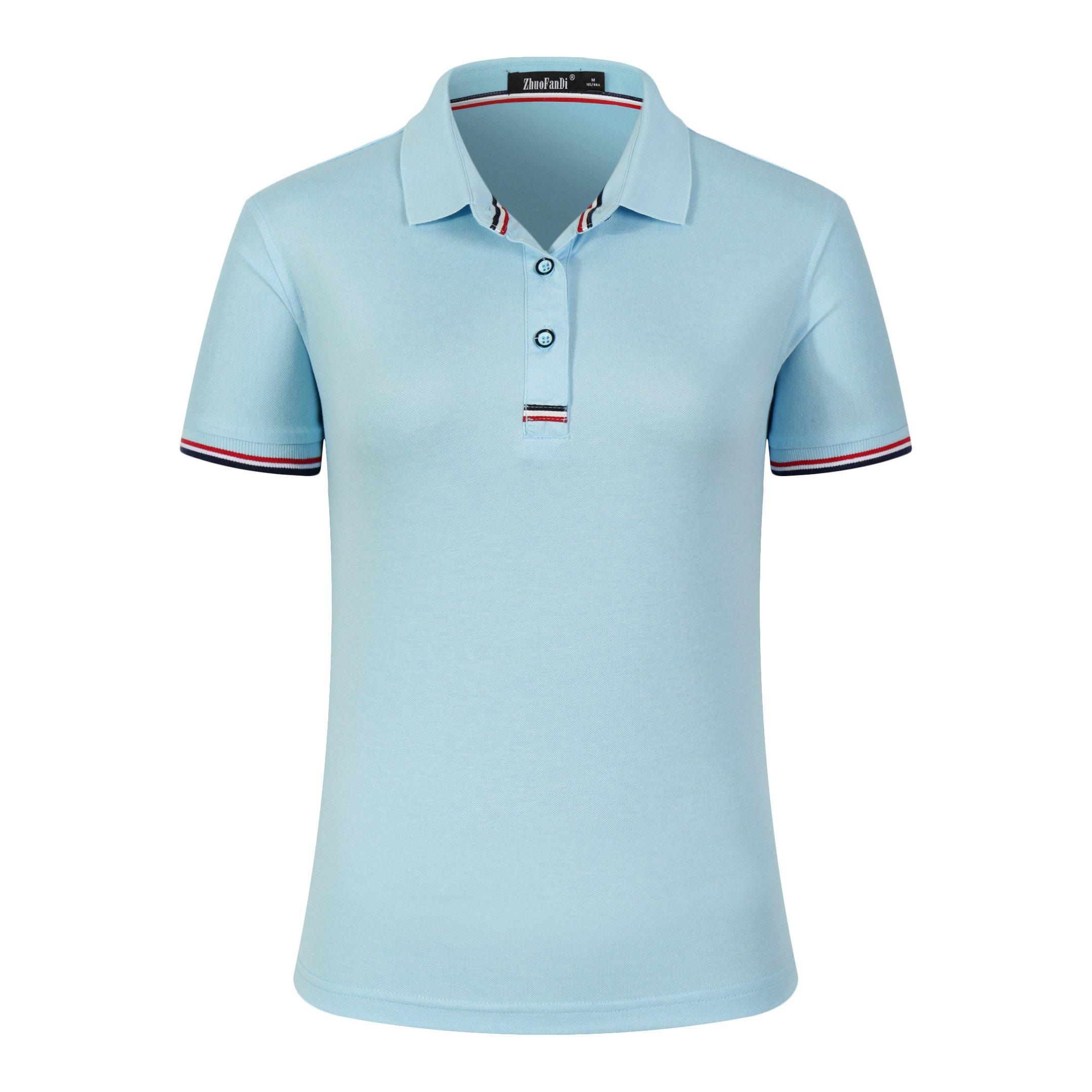 Women Classic Striped Collar Slim Fit Short Golf Polo Shirt Light Blue S