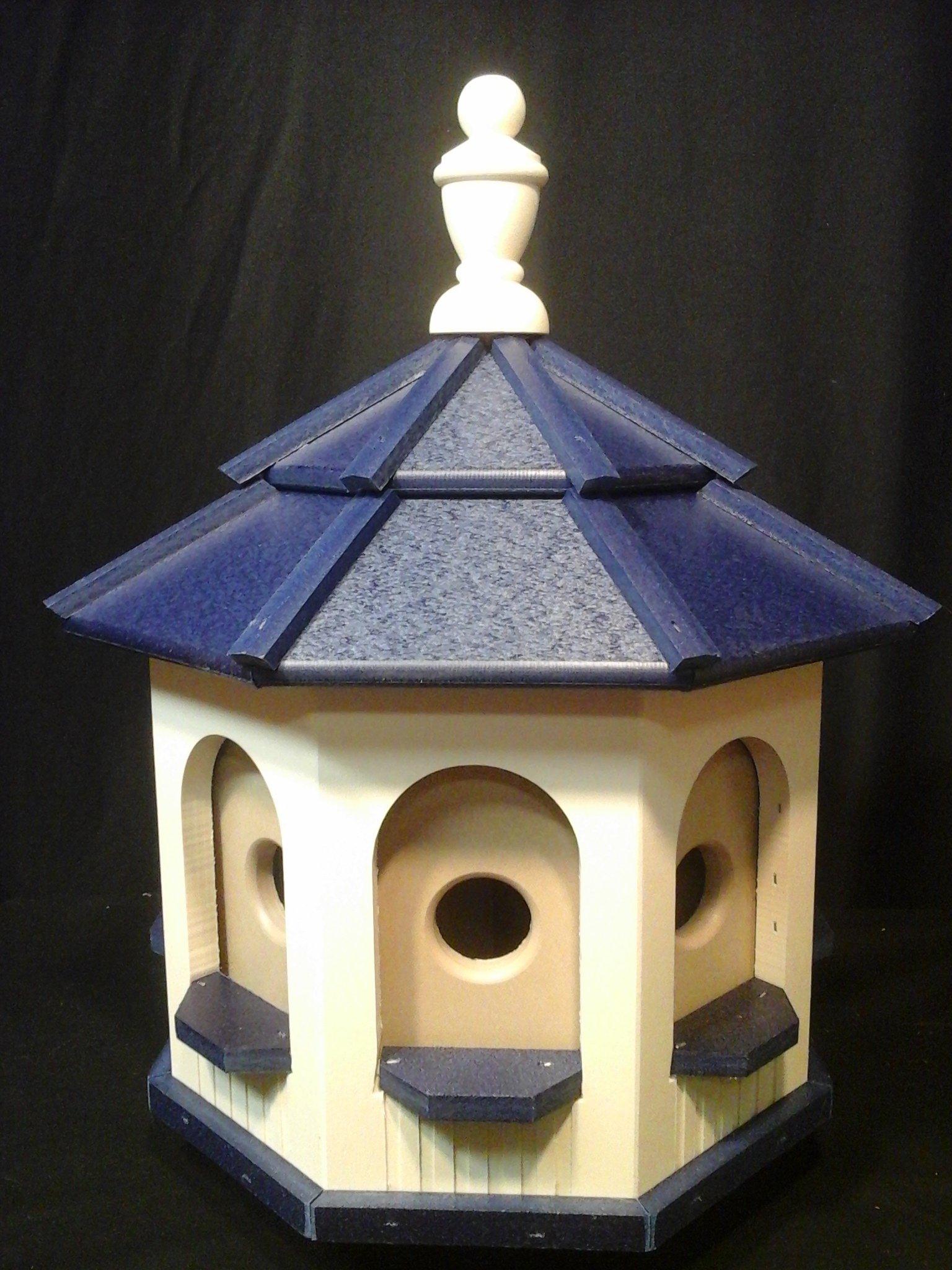 Medium Handcrafted Poly Gazebo Birdhouse Homemade Handmade Ivory & Blue Roof