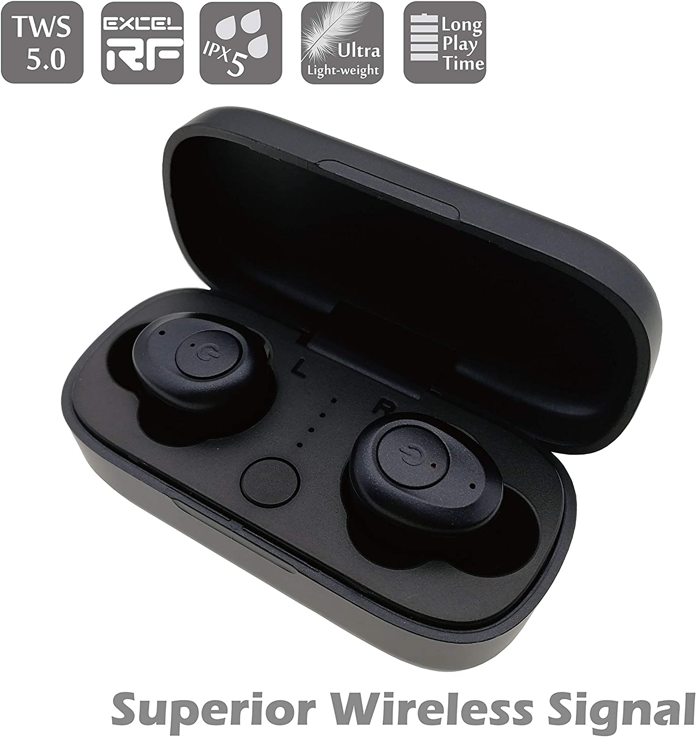 Hi-Fi 3D Stereo Sound Sport Mini Bluetooth Earbud Smallest Wireless Invisible Headphone with 12 Hour Playtime Car Headset with Mic for iPhone Android Smart Phones