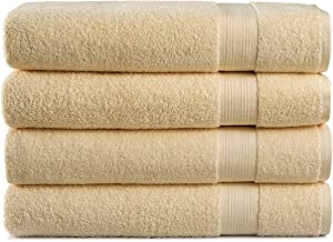 Cotton Cozy 100% Cotton Indulgence 600 GSM Luxury Large Oversized Bath Towels, Set of 4 (30 X 54 Inches), Amercian Construction, Soft, Highly Absorbent, Machine Washable, Beige