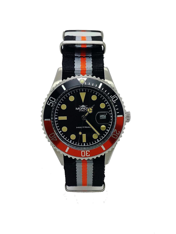 MONDIA Mistral – Zifferblatt schwarz und Armband technischer Orange und Schwarz