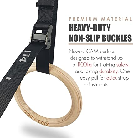 Fitness Gifts New Premium Birch Wooden Gymnastics Rings 1.1 Olympic Standard Numbered Adjustable Straps and Cam Buckle Home Gym Equipment Full Body Suspension Trainer Bodyweight Calisthenics