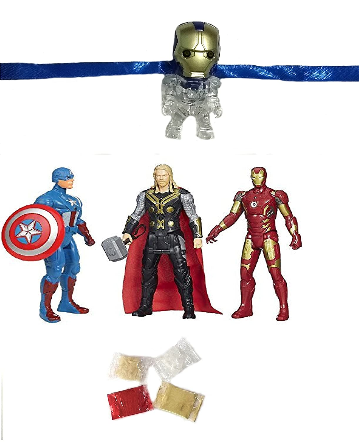 Velour Gifts Kid S Cartoon Iron Man Rakhi For Brother With Avengers Captain America Ironman And Thor Character Toy Roli Chawal And Personal Message Combo Amazon In Grocery Gourmet Foods