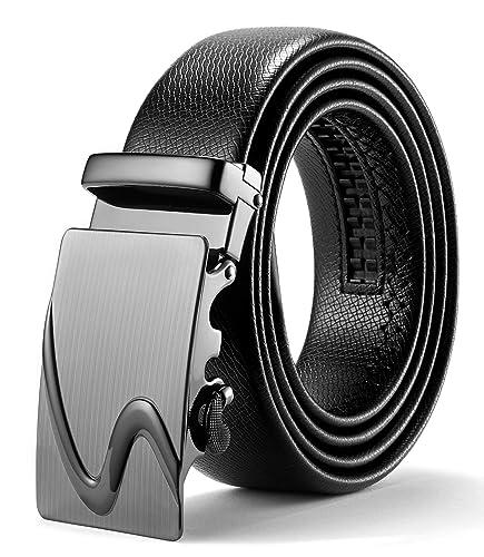 ITIEZY Ratchet Ceinture avec boucle automatique pour homme Noir Marron  (style élégant) - Noir da86b26afc6