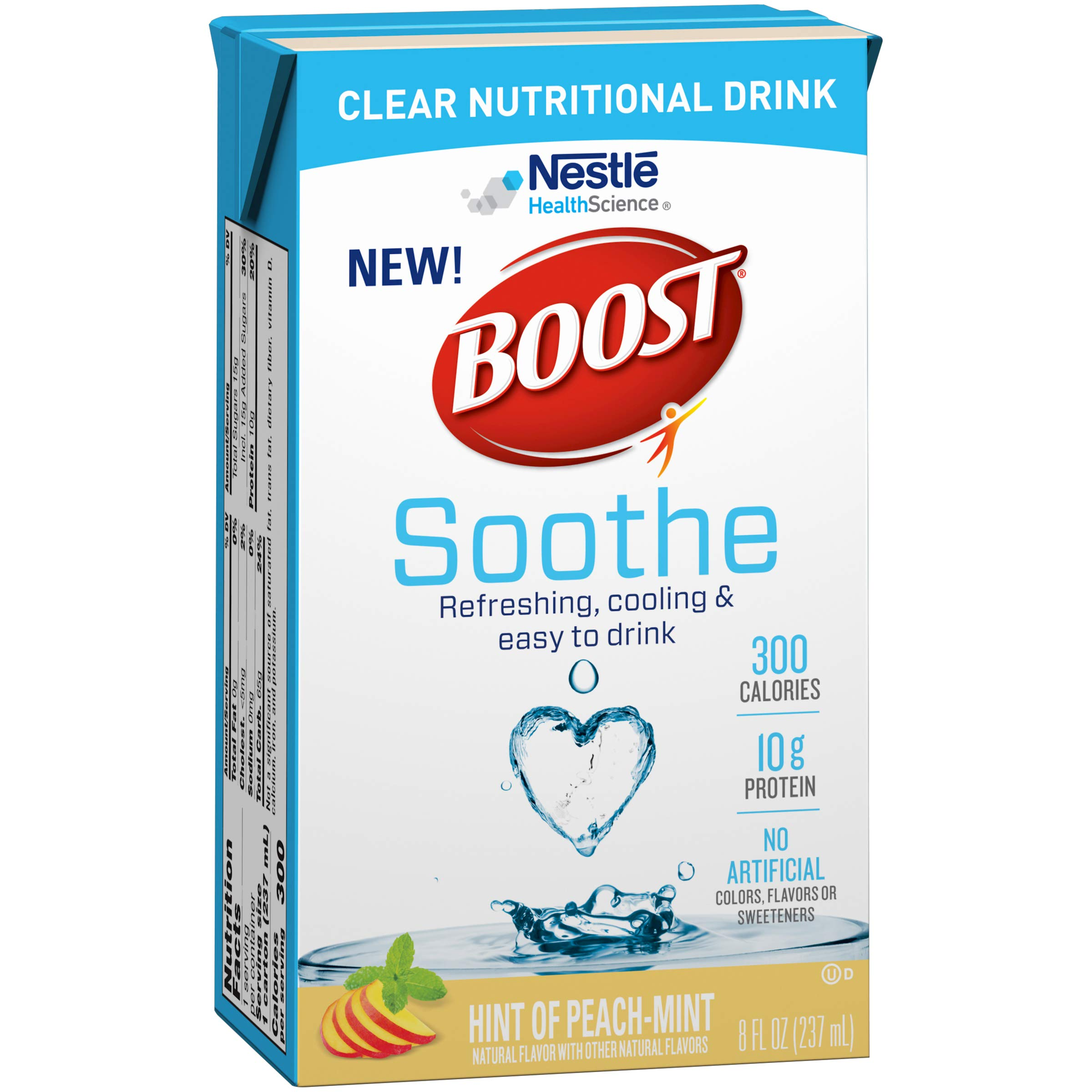 Boost Soothe Clear Nutritional Drink, Hint of Peach-Mint, 8 OZ (Pack - 27) by BOOST Soothe