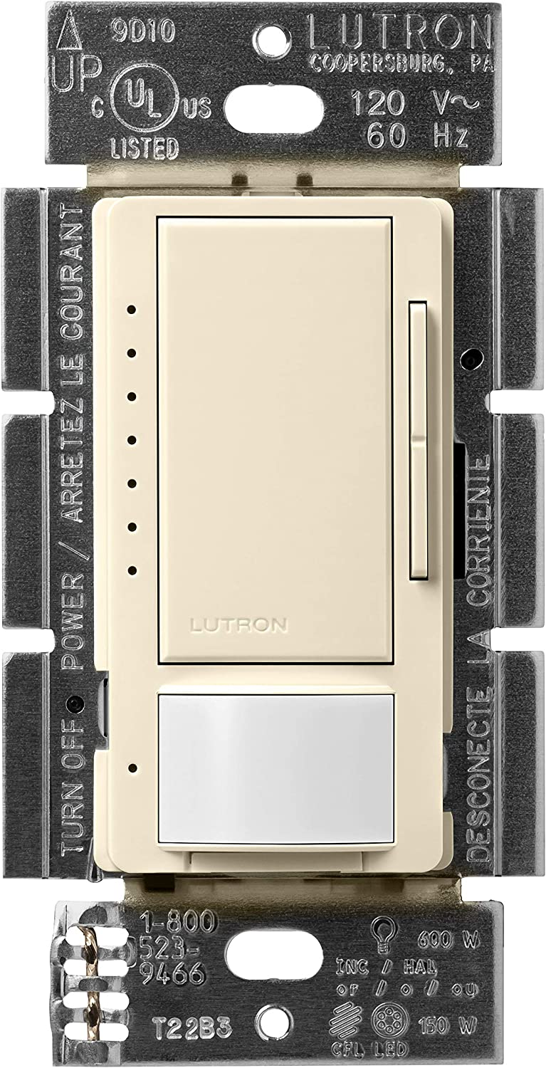 Lutron Maestro LED+ Motion Sensor Dimmer Switch | No Neutral Required | MSCL-OP153M-AL | Almond