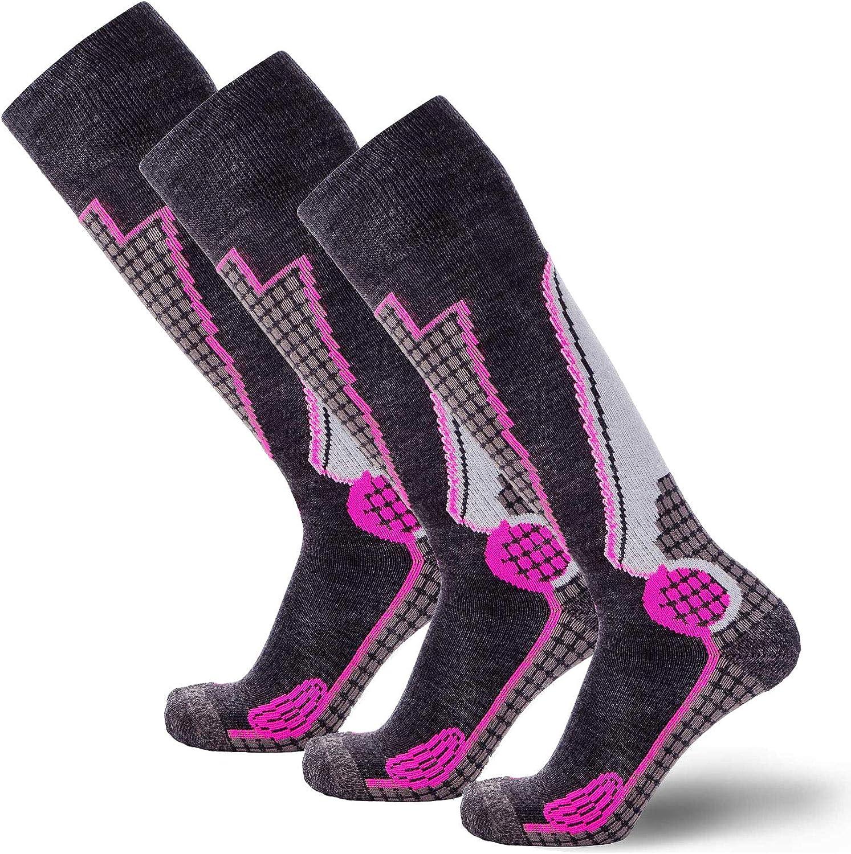 Snowboard Socks Outdoor Wool Skiing Socks Black//Grey//Neon Pink - 3 Pack, Small High Performance Wool Ski Socks