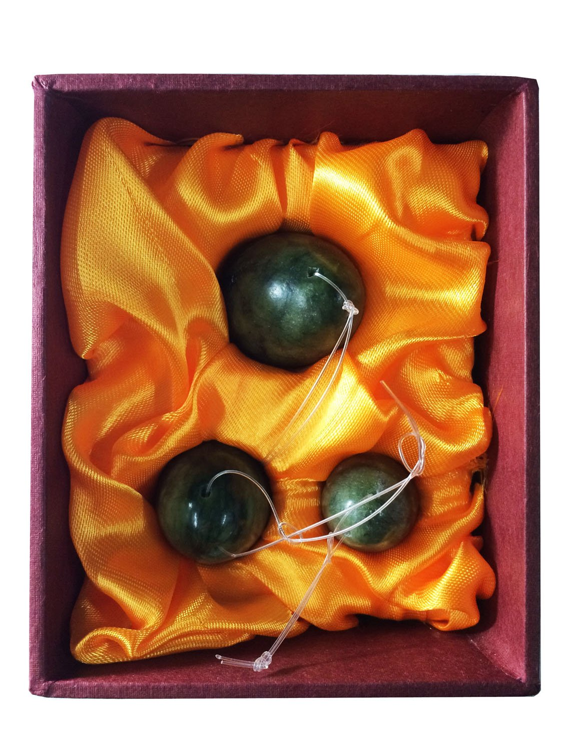 Jade Eggs Set of 3 for Training Pelvic Floor Muscles to Gain Bladder Control,with Instruction, Pre-drilled,Made of Natural Stone, Most Affordable Kegel Eggs Set (Set of 3 Jade Eggs)