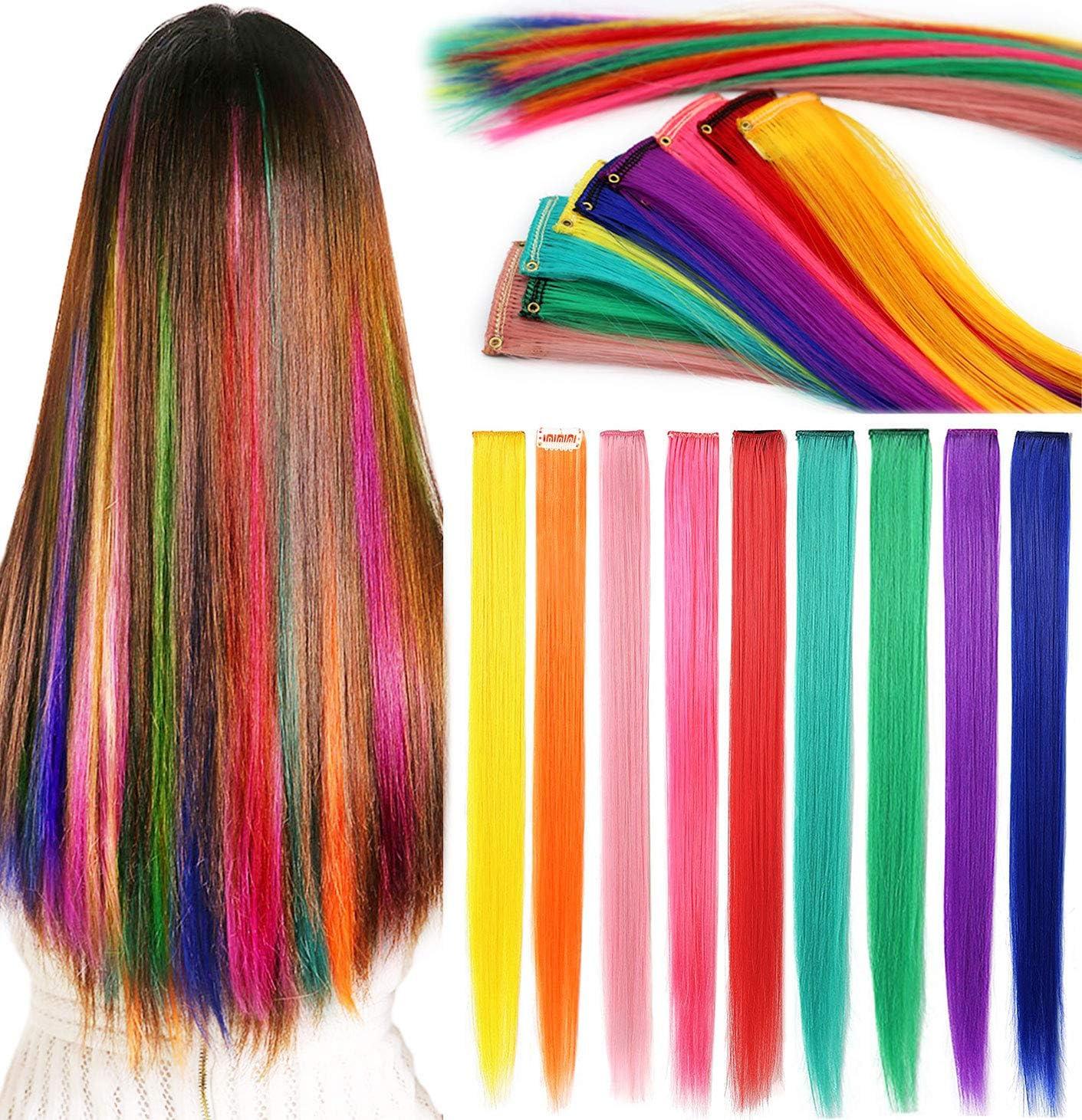 Rhyme Extensiones de Cabello Arco Iris Clip de Extensiones de Cabello de Color para niñas Muñecas Accesorios para el Cabello Wig Pieces For Kids 9 ...