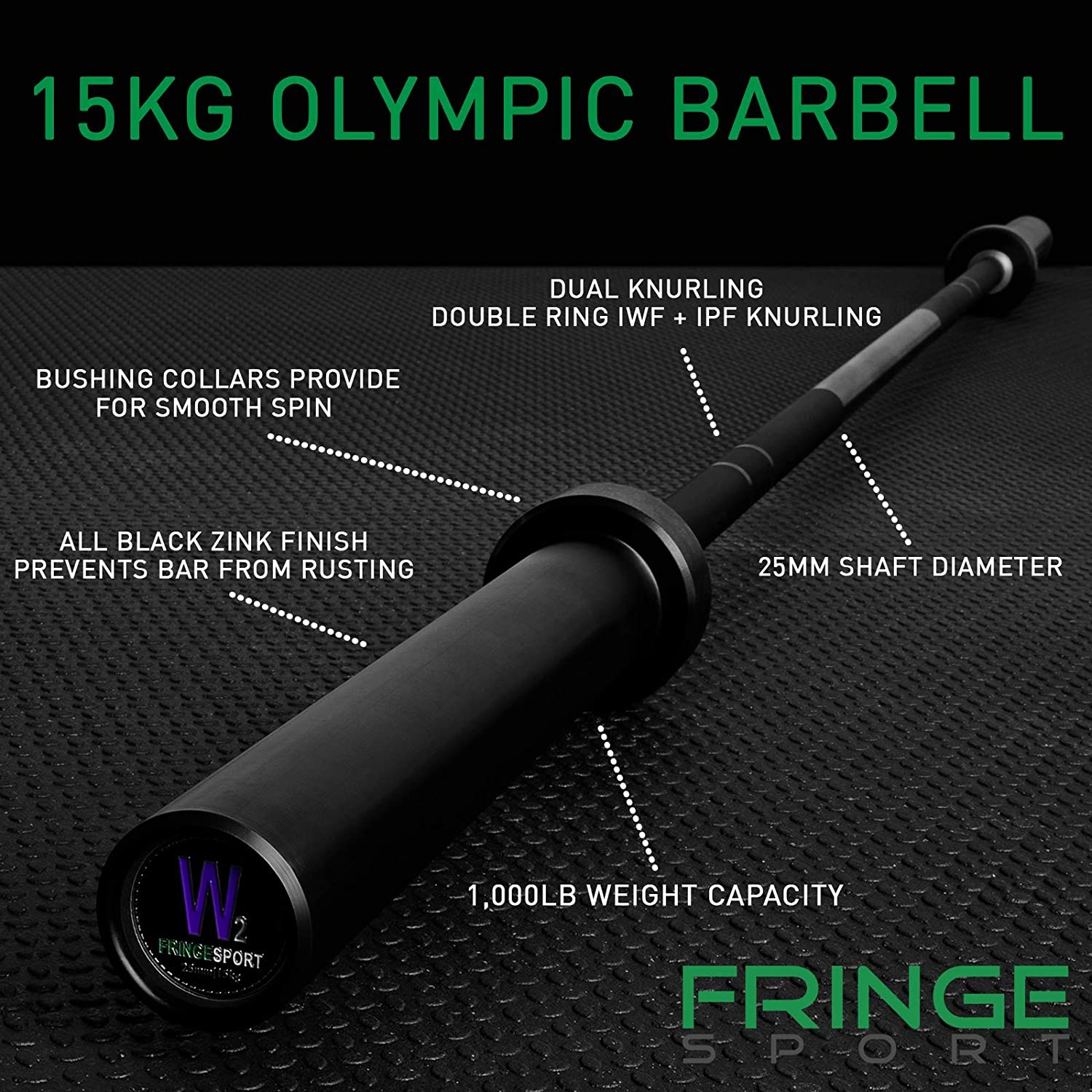 OneFitWonder Olympic Barbell with Black Zinc for Weightlifting Crossfit Powerlifting 2 inch Sleeves 20kg Men and 15kg Womens Bar