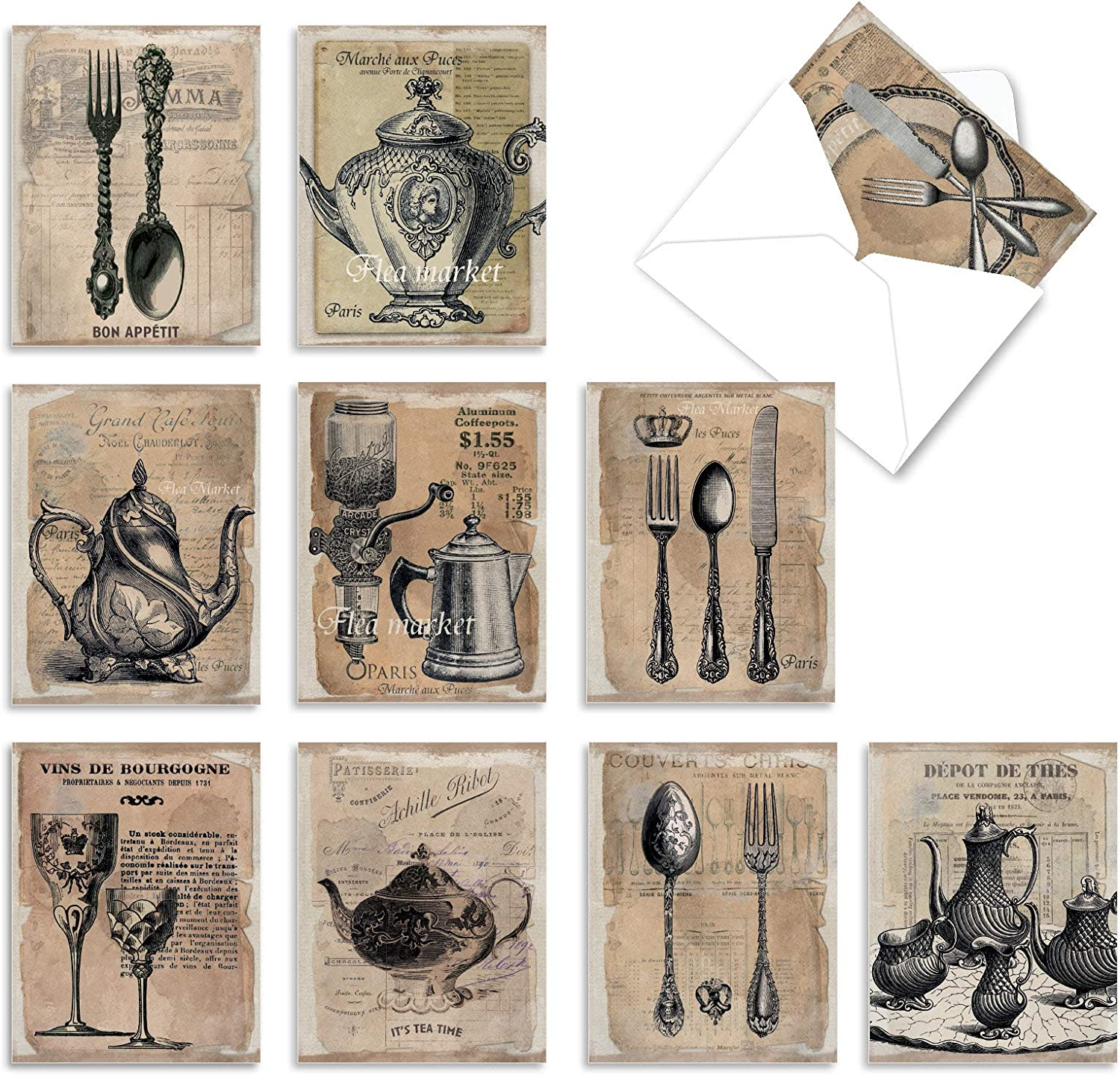 The Best Card Company - 10 Blank Food Note Cards Boxed (4 x 5.12 Inch) - All Occasion Assortment, Bulk Set - Timeless Tabletop M4191OCB-B1x10
