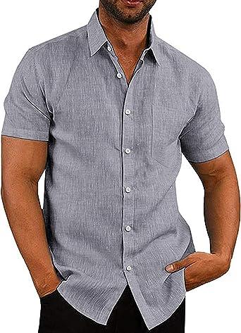 COOFANDY - Camisa de manga corta para hombre, manga larga, para negocios, ocio, Slim Fit, cuello de Kentkragen, unicolor, Basic camisas para hombres gris S: Amazon.es: Ropa y accesorios