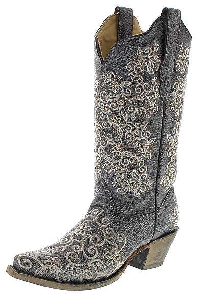 dfce6cd015c313 Corral Boots Damen Cowby Stiefel R1408 Lederstiefel Grau  Amazon.de ...