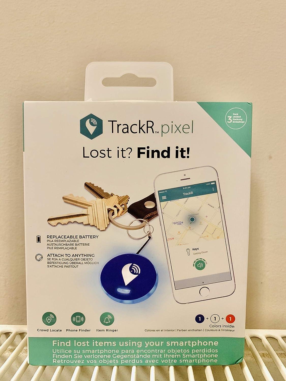 TrackR Pixel - Dispositivo de seguimiento Bluetooth Rastreador de Artículos Buscador de Teléfono Compatible con iOS/Android - Rojo Blanco Azul