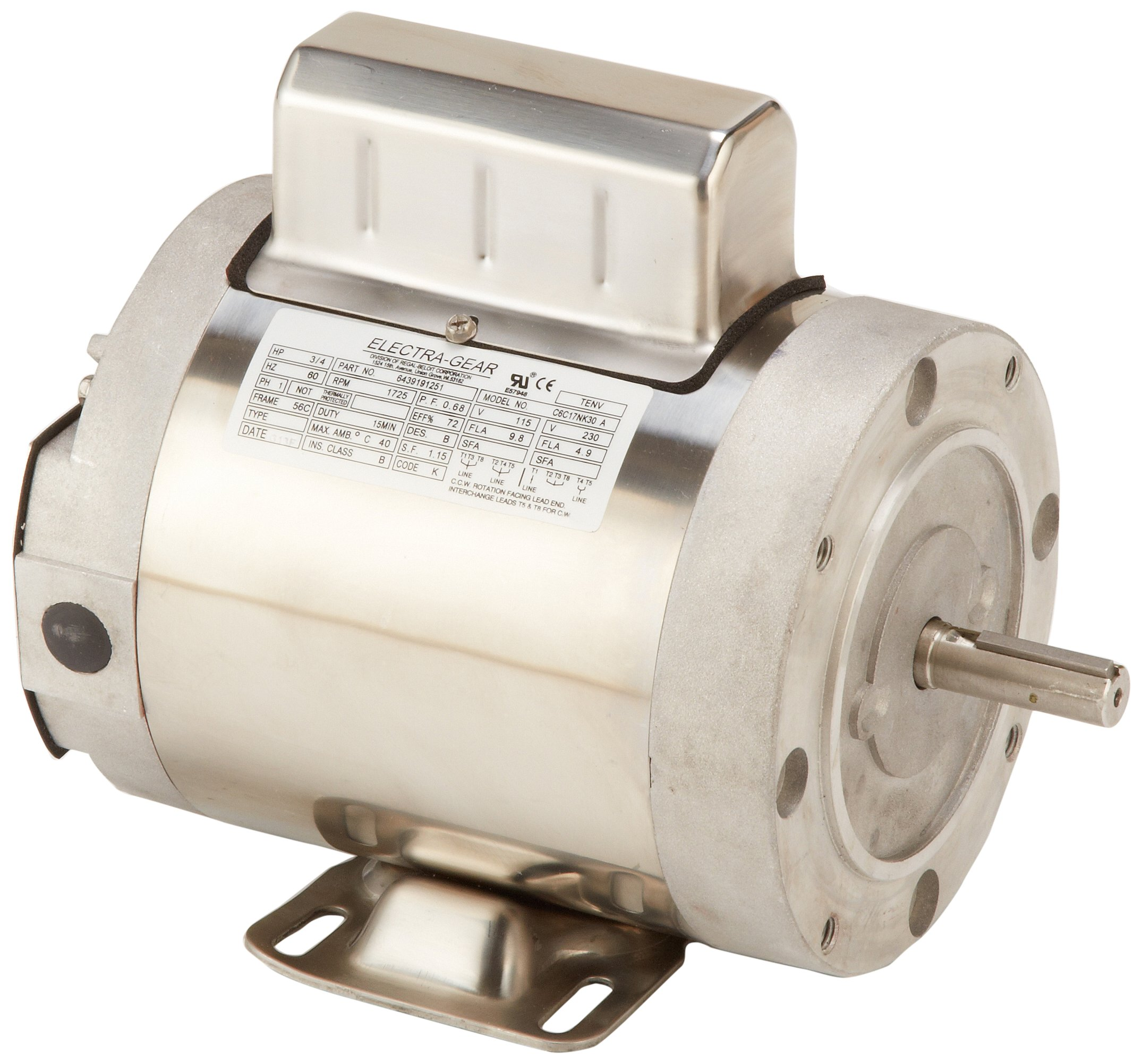 Leeson 6439191251 Boat Hoist Motor, 1 Phase, 56C Frame, Rigid C Mounting, 3/4HP, 1800 RPM, 115/208-230V Voltage, 60Hz Fequency