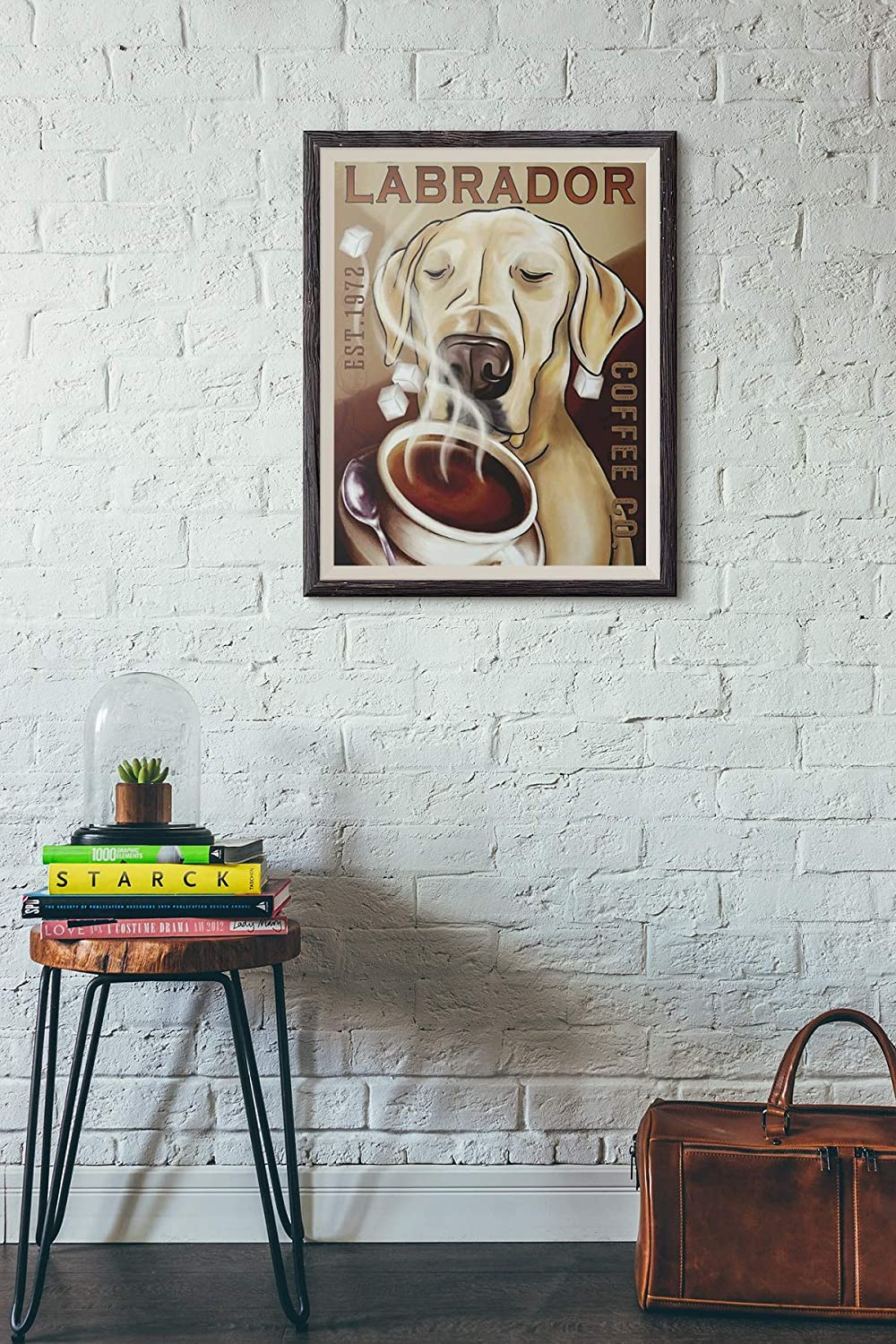 Labrador sweet hot black coffee poster