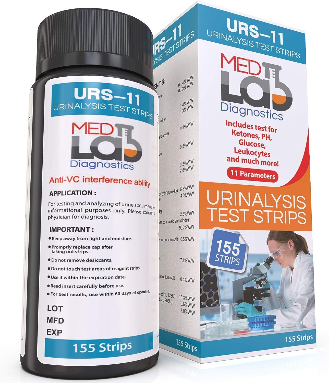 Urine Test Strips for Urinalysis 11 Parameters. 155 Cnt Reagent Test Strips for UTI, pH, Ketone, Protein, Kidney, Acidosis, CKD, Gallbladder, Liver Function Testing.