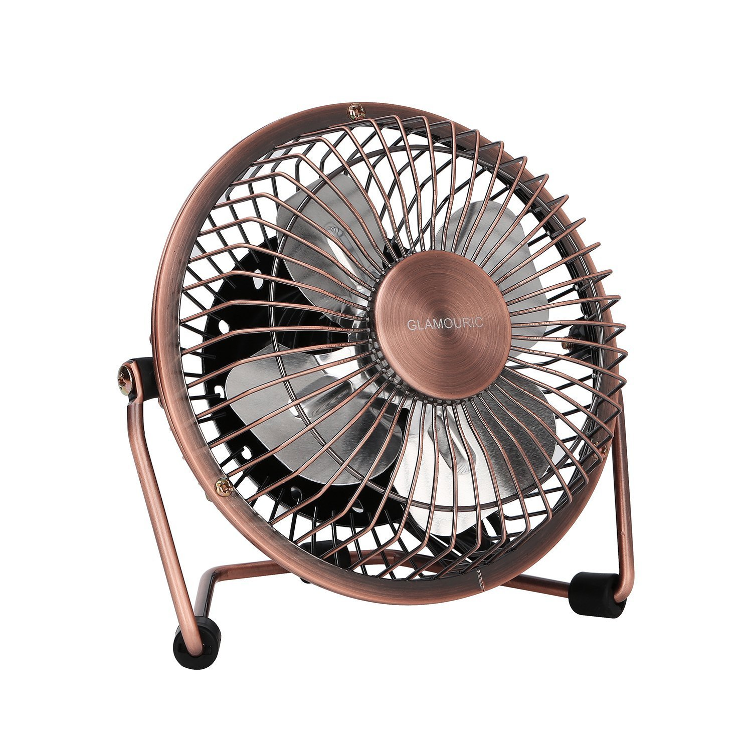 GLAMOURIC Small USB Desk Fan Mini Metal Personal Fan Retro Design Electric Portable Air Circulator Angle Adjustable Quiet Operation for Table Desktop Home Office Travel (Copper) by GLAMOURIC (Image #1)