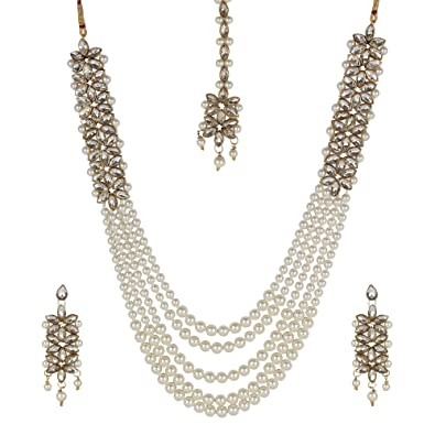 f648aca7ec88b Buy Steorra Jewels White Traditional Kundan Pearl Necklace Set with ...