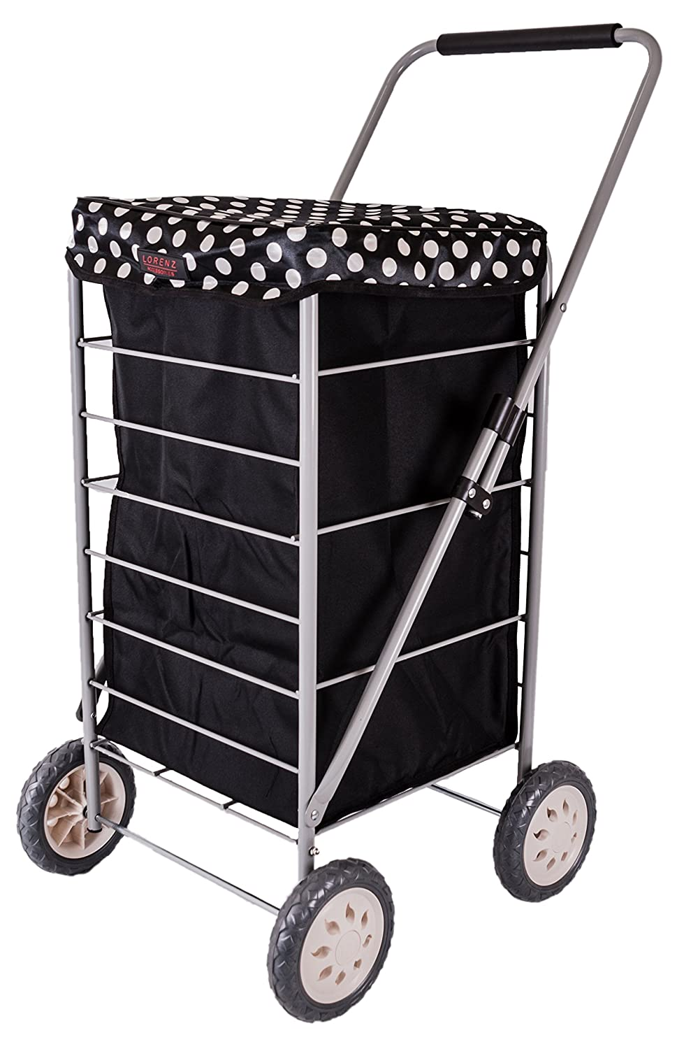 6963/W Black/White DOTS MF Four WEELS Shopping Trolley