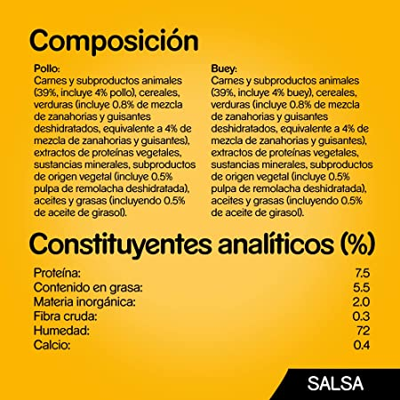 Pedigree Comida húmeda para Perros Sabor Pollo y Buey con Verduras en Salsa, Multipack (13 Packs x 4 bolsitas x 100g)