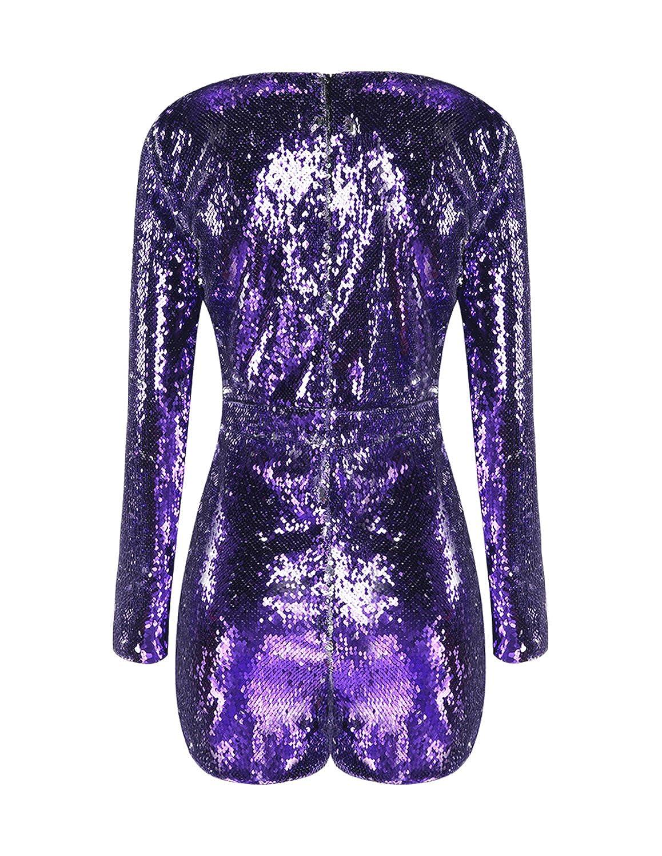 d44dbd6a4d17 Amazon.com  HAOYIHUI Women s Sparkly Sequin V Neck Long Sleeve Romper  Playsuit Jumpsuit  Clothing