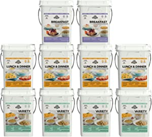 Augason Farms Deluxe 4-Month 1-Person 10-Pail Kit Emergency Food Supply
