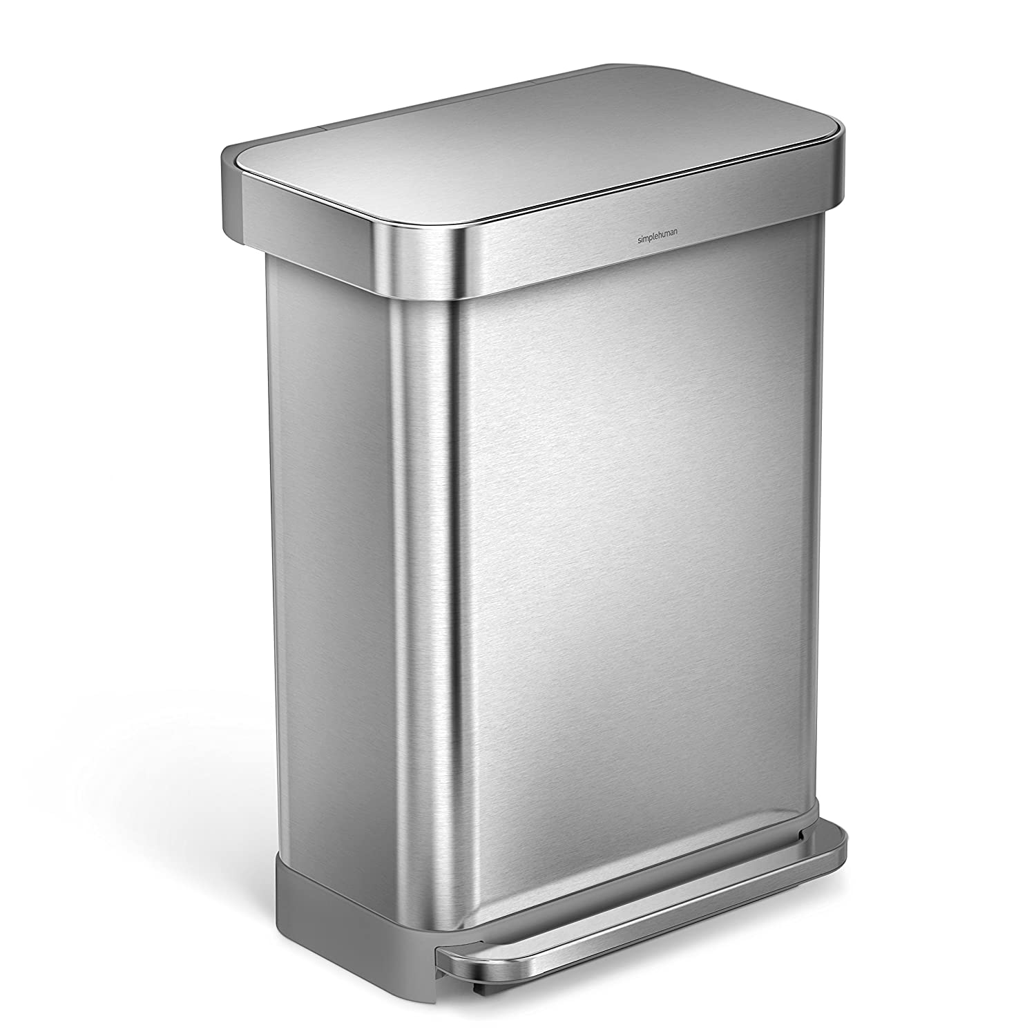 simplehuman liner rim rectangular step trash can with
