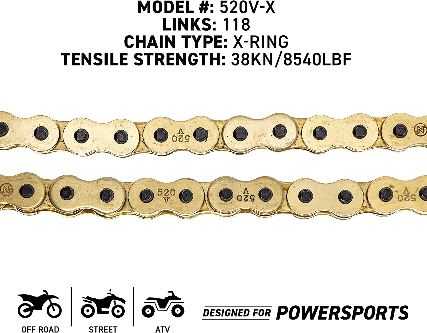 NICHE Gold 520 X-Ring Chain 114 Links With Connecting Master Link