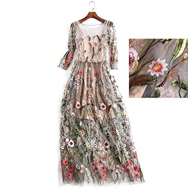 ae9173bd5e2 AROMEE Women s Embroidered Floral Spliced Tulle Maxi Lace Mesh Hollow Out  Cocktail Dresses