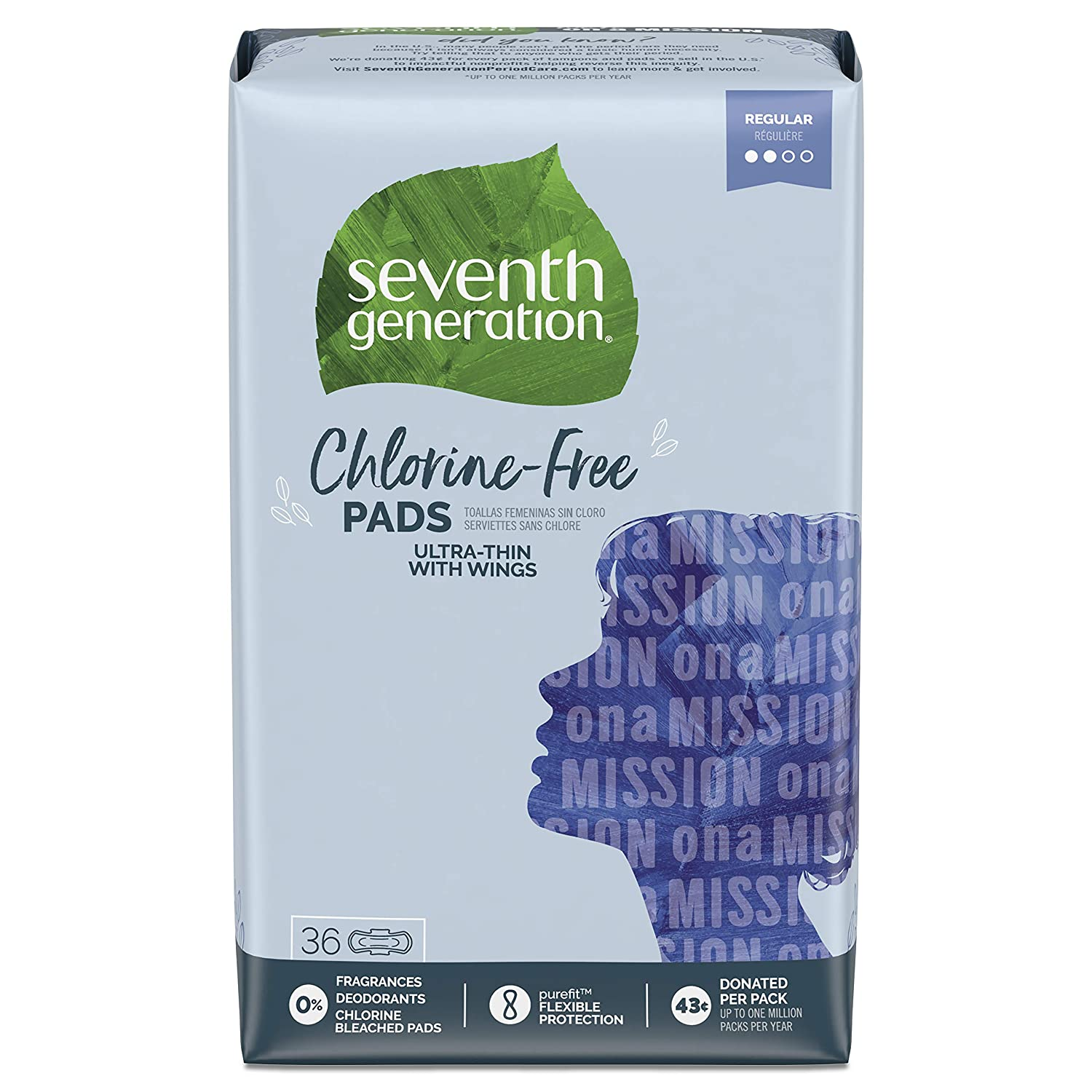 Seventh Generation Ultra Thin Pads with Wings, Regular Absorbency, Chlorine Free, 36 Count (Packaging May Vary)