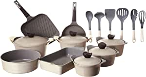 Neoflam Marble Cookware Set, 24 Pieces - Beige, 2725618982729