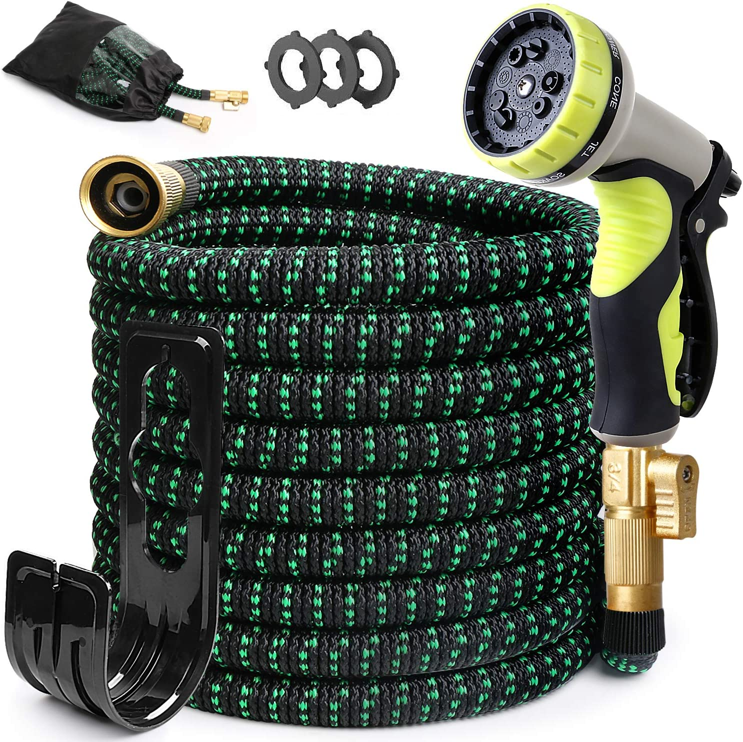 30FT Expandable Garden Hose with Solid Brass Fittings and 9 Function Nozzles Non-Kink Flexible Garden Hoses Expansion Light Hose Outdoor Garden Hose Car Wash Hose Water Hoses